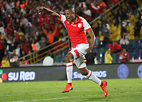 BOGOTÁ- COLOMBIA, 01-09-2019:Fainer Torijano jugador del Independiente Santa Fe  celebra después de anotar un gol  al Independiente Medellín durante partido por la fecha 9 de la Liga Águila II  2019 jugado en el estadio Nemesio Camacho El Campín  de la ciudad de Bogotá. /Fainer Torijano player of Independiente Santa Fe  after scoring a goal agaisnt of Independiente Medellin  during the match for the date 9 of the Liga Aguila II 2019 played at the Nemesio Camacho El Campin  stadium in Bogota city. Photo: VizzorImage / Felipe Caicedo / Staff
