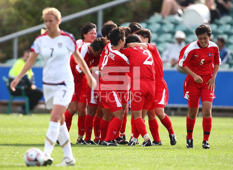 Korea DPR celebrate a goal. USA v Korea Republic. FIFA U-17 Women's World Cup Final. North Harbour Stadium, Auckland, Sunday 16 October 2008. Photo: Simon Watts/PHOTOSPORT