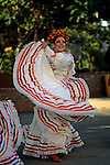 Mexican dancer performs at Historic Olvera Street downtown Los Angeles, California USA