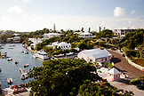 BERMUDA. Hamilton. View of Hamilton houses and boat dock from the Hamilton Princess & Beach Club Hotel.