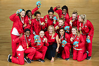 Picture by Alex Whitehead/SWpix.com - 15/04/2018 - Commonwealth Games - Netball - Coomera Indoor Sports Centre, Gold Coast, Australia - England players celebrate with coach Tracey Neville after defeating Australia in the Gold medal final.