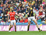 James Murphy of Ballyea in action against Sean Treacy of Cuala during the All-Ireland Club Hurling Final at Croke Park. Photograph by John Kelly.
