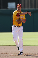 James Roberts #15 of the USC Trojans throws the ball during a game against the California Bears at Dedeaux Field on April 5, 2012 in Los Angeles,California. California defeated USC 5-4.(Larry Goren/Four Seam Images)