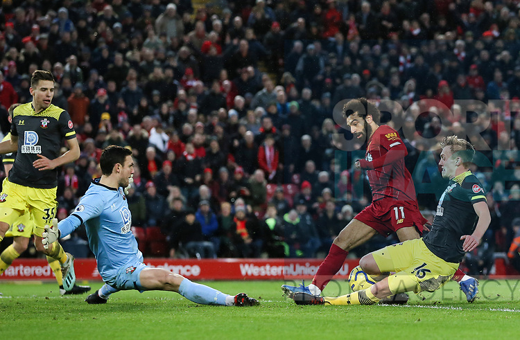 Mohamed Salah of Liverpool scores the fourth goal of the game during the Premier League match at Anfield, Liverpool. Picture date: 1st February 2020. Picture credit should read: James Wilson/Sportimage