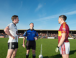 Referee Jim Hickey with captains, Sean O Driscoll, Ennistymon, and Gordon Kelly, Miltown,  before the county senior football final at Cusack Park. Photograph by John Kelly.