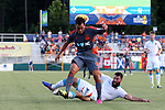 22 July 2016: Carolina's Omar Bravo (MEX) (99) and Miami's Rhett Bernstein (behind). The Carolina RailHawks hosted Miami FC at WakeMed Stadium in Cary, North Carolina in a 2016 North American Soccer League Fall Season game. The game ended in a 3-3 tie.