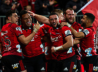 Seta Tamanivalu of the Crusaders celebrates after scoring a try during the 2018 Super Rugby final between the Crusaders and Lions at AMI Stadium in Christchurch, New Zealand on Sunday, 29 July 2018. Photo: Joe Johnson / lintottphoto.co.nz