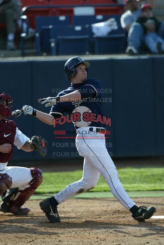 Jeremy Slayden of the Georgia Tech Yellow Jackets bats during a 2004 season game against the Southern California Trojans at Goodwin Field, in Fullerton, California. (Larry Goren/Four Seam Images)