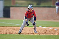 Alex Burman (32) of the NJIT Highlanders takes his lead off of first base against the High Point Panthers at Williard Stadium on February 18, 2017 in High Point, North Carolina. The Panthers defeated the Highlanders 11-0 in game one of a double-header. (Brian Westerholt/Four Seam Images)