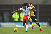 Blackpool's Sessi D'Almeida in action with Oxford United's Jack Payne<br /> <br /> Photographer Mick Walker/CameraSport<br /> <br /> The EFL Sky Bet League One - Rochdale v Blackpool - Monday 1st January 2018 - Spotland Stadium - Rochdale<br /> <br /> World Copyright &copy; 2018 CameraSport. All rights reserved. 43 Linden Ave. Countesthorpe. Leicester. England. LE8 5PG - Tel: +44 (0) 116 277 4147 - admin@camerasport.com - www.camerasport.com