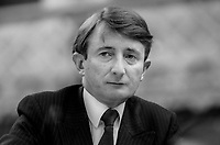 John Boland, TD, Fine Gael, Rep of Ireland, platform, Ard Fheis, October, 1982, appointed Minister for the Public Service December 1982, 198210000339JB1<br /> <br /> Copyright Image from Victor Patterson, 54 Dorchester Park, <br /> Belfast, UK, BT9 6RJ<br /> <br /> t1: +44 28 9066 1296 (from Rep of Ireland 048 9066 1296)<br /> t2: +44 28 9002 2446 (from Rep of Ireland 048 9002 2446)<br /> m: +44 7802 353836<br /> <br /> victorpatterson@me.com<br /> www.victorpatterson.com<br /> <br /> Please see my Terms and Conditions of Use at VICTORPATTERSON.COM. It is IMPORTANT that you familiarise yourself with them.<br /> <br /> Images used on the Internet must be visibly watermarked i.e. &copy;VICTORPATTERSON.COM within the body of the image and copyright metadata must not be deleted. Images used on the Internet have a size restriction of 4kbs and are chargeable at the then current NUJ rates.<br /> <br /> This image is only available for the use of the download recipient i.e. television station, newspaper, magazine, book publisher, etc, and must not be passed on to any third party. It is also downloaded on condition that each and every usage is notified within 7 days to victorpatterson@me.com<br /> <br /> The right of Victor Patterson to be identified as the author is asserted in accordance with The Copyright Designs And Patents Act (1988).