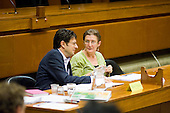Marco Torquati and Jeannette Buckley at a Church Street Neighbourhood Forum meeting in the Chamber of the Marylebone Council House.