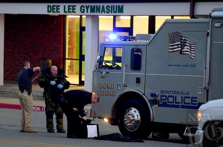 NWA Democrat-Gazette/DAVID GOTTSCHALK  The Bentonville Police Department Bentonville Bomb Squad Monday, November 21, 2016, on the campus of the Greenland Public Schools inspecting a suspicious object in Greenland.