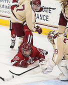 Dru Burns (BC - 7), Lyndsey Fry (Harvard - 9) - The Boston College Eagles defeated the visiting Harvard University Crimson 3-1 in their NCAA quarterfinal matchup on Saturday, March 16, 2013, at Kelley Rink in Conte Forum in Chestnut Hill, Massachusetts.