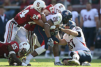 14 October 2006: Trevor Hooper, Will Powers and Michael Okwo during Stanford's 20-7 loss to Arizona during Homecoming at Stanford Stadium in Stanford, CA.