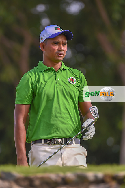 Md Shahab UDDIN (BAN) watches his tee shot on 4 during Rd 1 of the Asia-Pacific Amateur Championship, Sentosa Golf Club, Singapore. 10/4/2018.<br /> Picture: Golffile | Ken Murray<br /> <br /> <br /> All photo usage must carry mandatory copyright credit (© Golffile | Ken Murray)
