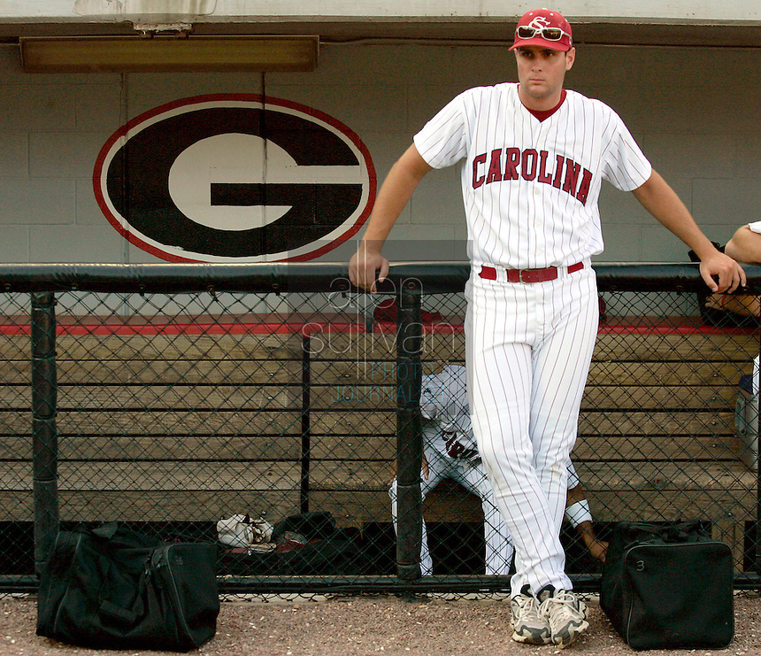 South Carolina pitcher Forrest Beverly, who didn't play in today's game, reacts after Georgia's 11-5 win in Game 2 of the NCAA Athens Super Regional on Sunday, June 11, 2006.