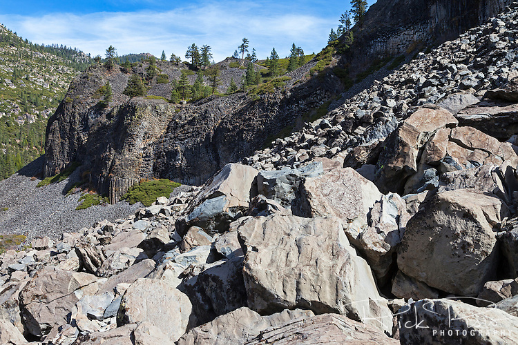 Basaltic columns and talus at the Columns of the Giants in Tuolumne County, California