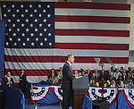 U.S. President Barack Obama speaks on the economy at the James Lee Community Center in Falls Church, Virginia USA February 1, 2012. Obama spoke on the mortgage principle reduction plan he had mentioned in his State of the Union address. Copyright EML/Rockinexposures.com.