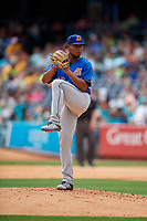 Durham Bulls pitcher Ricardo Pinto (26) during an International League game against the Toledo Mud Hens on July 16, 2019 at Fifth Third Field in Toledo, Ohio.  Durham defeated Toledo 7-1.  (Mike Janes/Four Seam Images)