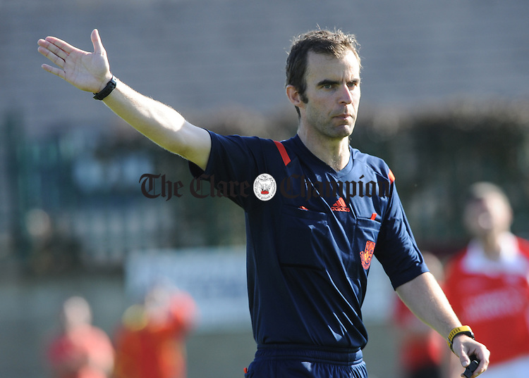 Referee Pa Gleeson during a Munster Junior Cup game at Mc Donogh Park. Photograph by John Kelly.