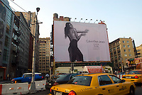 A Calvin Klein billboard in the Soho neighborhood of New York on Tuesday, August 4, 2009 features the actress Eva Mendes.  Klein's advertisements use sex and provocative images to test society's cultural and moral boundries. (© Richard B. Levine)