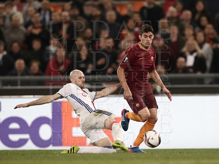 Football Soccer: Europa League Round of 16 second leg, Roma-Lyon, stadio Olimpico, Roma, Italy, March 16,  2017. <br /> Lyon's Christophe Jallet (l) in action with Roma's Diego Perotti (r) during the Europe League football soccer match between Roma and Lyon at the Olympique stadium, March 16,  2017. <br /> Despite losing 2-1, Lyon reach the quarter finals for 5-4 aggregate win.<br /> UPDATE IMAGES PRESS/Isabella Bonotto
