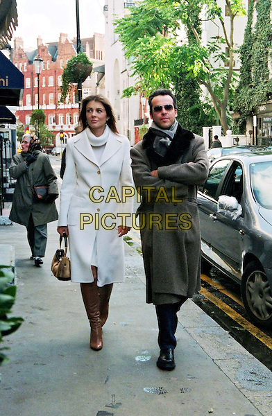 LIZ HURLEY & HENRY DENT BROCKLEHURST.Lunch At St Lorenzo's Restaurant Following The News Of Her Pregnancy.pap pix, white coat, walking, full length, full-length.www.capitalpictures.com.sales@capitalpictures.com.© Capital Pictures