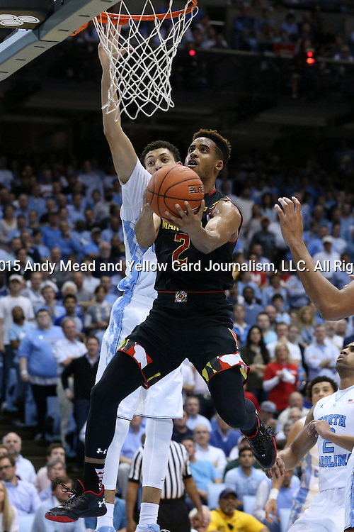 01 December 2015: Maryland's Melo Trimble (2) and North Carolina's Justin Jackson (behind). The University of North Carolina Tar Heels hosted the University of Maryland Terrapins at the Dean E. Smith Center in Chapel Hill, North Carolina in a 2015-16 NCAA Division I Men's Basketball game. UNC won the game 89-81.