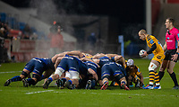 8th November 2019; AJ Bell Stadium, Salford, Lancashire, England; English Premiership Rugby, Sale Sharks versus Coventry Wasps; Dan Robson (capt),of Wasps prepares to put the ball into a steamy scrum on a cold night in Eccles - Editorial Use