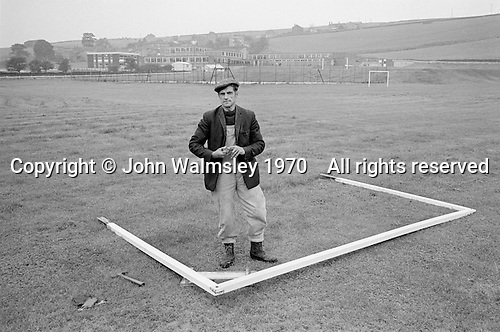 The groundsman, Whitworth Comprehensive School, Whitworth, Lancashire.  1970.