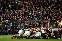 A scrum sets during the Rugby Championship match between the New Zealand All Blacks and South Africa Springboks at QBE Stadium in Albany, Auckland, New Zealand on Saturday, 16 September 2017. Photo: Shane Wenzlick / lintottphoto.co.nz