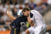 Todd Dunivant (2) of the Los Angeles Galaxy battles Carlos Ruiz (20) of the Philadelphia Union for a header. The Philadelphia Union  and the Los Angeles Galaxy played to a 1-1 tie during a Major League Soccer (MLS) match at PPL Park in Chester, PA, on May 11, 2011.