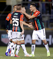 SANTIAGO DE CHILE - CHILE: 06-02-2019: Los jugadores de Club Deportivo Palestino (CHL) celebran el gol anotado a Deportivo Independiente Medellín (COL), durante partido de la Segunda fase, llave 4, entre Club Deportivo Palestino (CHL) y Deportivo Independiente Medellín (COL), por la Copa Conmebol Libertadores 2019 en el estadio San Carlos de Apoquindio, de la ciudad de Santiago de Chile. / Players of Club Deportivo Palestino (CHL), celebrate a goal scored to Deportivo Independiente Medellin (COL), during a match between Club Deportivo Palestino (CHL) and Deportivo Independiente Medellin of the second phase, key 4, for Copa Conmebol Libertadores 2019 at the San Carlos de Apoquindio Stadium, in the city of Santiago de Chile. Photos: VizzorImage / Andrés Piña / Cont. / Photosport