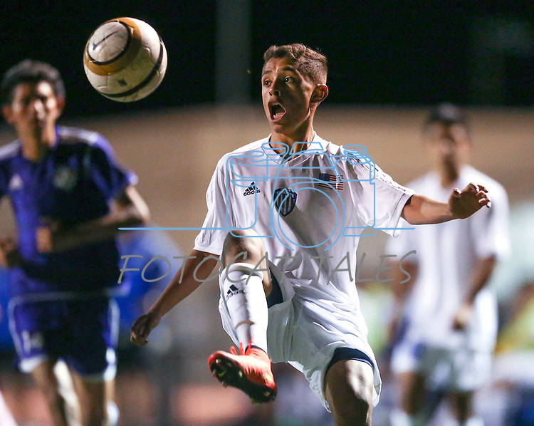 during a boys varsity soccer game at Carson High School, in Carson City, Nev., on Friday, Sept. 12, 2014.<br /> Photo by Cathleen Allisno