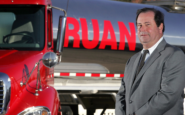 John Ruan III with one of Ruan Transportation's dairy trucks, a new segment of their transport business.