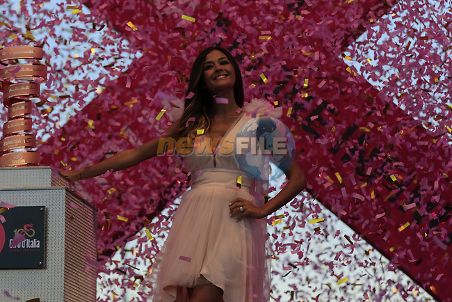The Madrina Giorgia Palmas with the Trophie Senza Fine on stage at theTeam Presentation in Alghero, Sardinia for the 100th edition of the Giro d'Italia 2017, Sardinia, Italy. 4th May 2017.<br /> Picture: Eoin Clarke | Cyclefile<br /> <br /> <br /> All photos usage must carry mandatory copyright credit (&copy; Cyclefile | Eoin Clarke)
