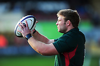 Tom Youngs of Leicester Tigers looks to throw into a lineout during the pre-match warm-up. European Rugby Champions Cup match, between Leicester Tigers and Munster Rugby on December 17, 2016 at Welford Road in Leicester, England. Photo by: Patrick Khachfe / JMP