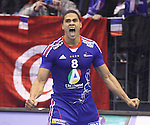 12.01.2013 Granollers, Spain. IHF men's world championship, prelimanary round. Picture show Daniel Narcisse in action during game between France vs Tunisia at Palau d'esports de Granollers