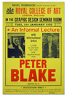 Poster for a Lecture by Peter Blake, Nigel Robinson, 1990