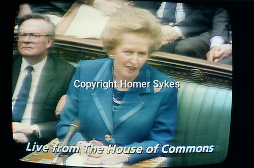 MARGARET THATCHER'S RESIGNATION SPEECH ON 22/11/90 IN THE COMMONS, AS SHOWN ON TV, 1990