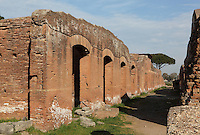 Via della Fontana (Road of the Fountain) seen from the South, Ostia Antica, Italy. This road runs from the Decumanus towards the Tiber. Picture by Manuel Cohen