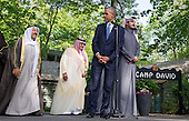 United States President Barack Obama waits to deliver remarks following the Gulf Cooperation Council-U.S. summit at Camp David on May 14, 2015. Obama was joined by, from left to right, Kuwait's Emir Sheik Sabah Al-Ahmad Al-Jaber Al-Sabah; Saudi Arabia Crown Prince Mohammed bin Nayef Qatar's Emir Sheik Tamim bin Hamad Al-Thani. The summit was called to discuss issues affecting the region including terrorism and the U.S.-Iran nuclear deal. <br /> Credit: Kevin Dietsch / Pool via CNP