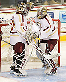 Chris Venti (BC - 30), Parker Milner (BC - 35) - The Boston College Eagles defeated the visiting University of Massachusetts-Amherst Minutemen 2-1 in the opening game of their 2012 Hockey East quarterfinal matchup on Friday, March 9, 2012, at Kelley Rink at Conte Forum in Chestnut Hill, Massachusetts.