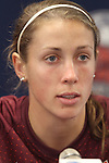 05 December 2013: Virginia Tech's Shannon Mayrose. The head coach and selected players from teams participating in the 2013 Women's College Cup spoke to the media at WakeMed Stadium in Cary, North Carolina.