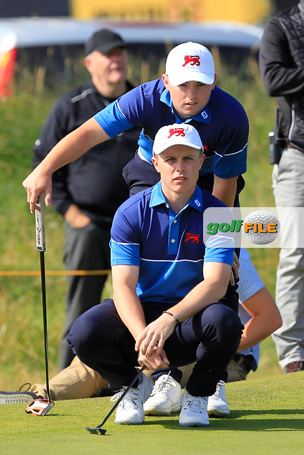Conor Purcell (GB&I) and Alex Fitzpatrick (GB&I) on the 17th during the Foursomes at the Walker Cup, Royal Liverpool Golf CLub, Hoylake, Cheshire, England. 07/09/2019.<br /> Picture Thos Caffrey / Golffile.ie<br /> <br /> All photo usage must carry mandatory copyright credit (© Golffile | Thos Caffrey)