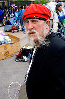 Costumed and mustached member age 60. MayDay Parade and Festival. Minneapolis Minnesota USA