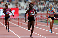 Janieve Russell of Jamaica wind the womenís 400 metres hurdles during the Muller Anniversary Games at The London Stadium on 9th July 2017