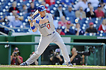 19 September 2012: Los Angeles Dodgers catcher A.J. Ellis in action against the Washington Nationals at Nationals Park in Washington, DC. The Nationals defeated the Dodgers 3-1 in the first game of their double-header. Mandatory Credit: Ed Wolfstein Photo