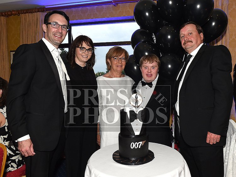 Conor McIntyre celebrating his 30th birthday in Ardee Golf Club pith parents Kevin and Patricia, sister Julieanne and her husband John Kieran. Photo:Colin Bell/pressphotos.ie